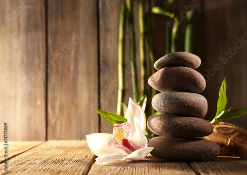 Recess Fitting Zen Spa stones, white orchid and bamboo branches