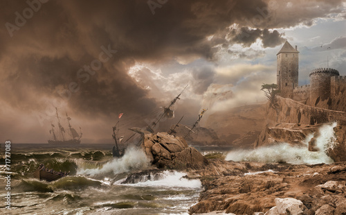 Wall Murals Bestsellers Storm with a Shipwreck photomontage after Vernet painting