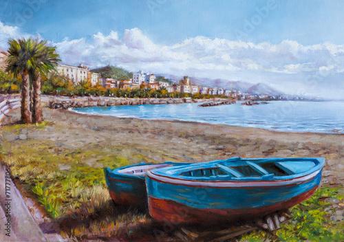 dipinto di un paesaggio costiero