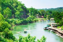 Natural View Of The River Kwai At Kanchanaburi Of Thailand.