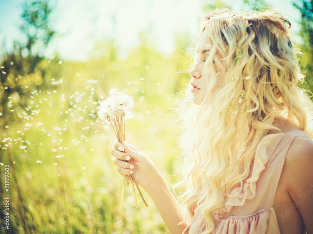 Fototapety, obrazy: Beautiful blonde with dandelions
