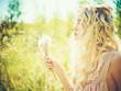 Leinwanddruck Bild - Beautiful blonde with dandelions