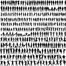 People Mix Silhouettes, Vector...