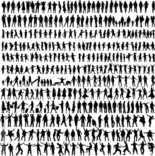 Obraz People Mix Silhouettes, vector work - fototapety do salonu