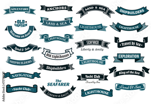 Nautical themed banners Fototapeta