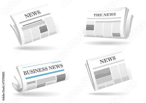 Folded newspaper icons Fototapeta