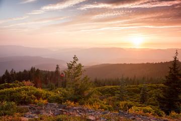 Fototapeta sunset from a mountain top