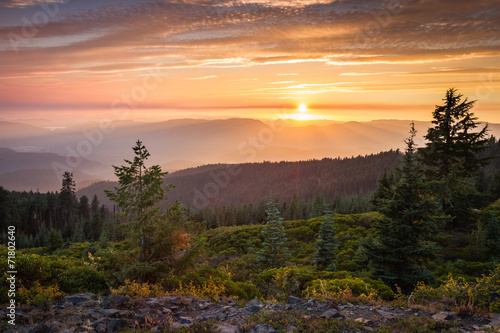 sunset from a mountain top - 71802640