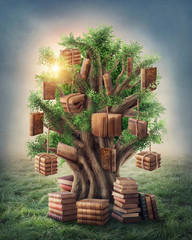 Panel Szklany Fantasy Tree of knowledge
