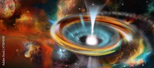 Fotografie, Obraz Schwarzes Loch mit Pulsar, Universum, Galaxie