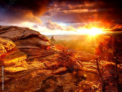 Fotoposter Rood traf. Tramonto sulle Rocce