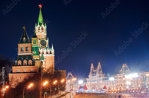 Foto op Plexiglas Bedehuis Spasskaya tower of Kremlin in red square, night view. Moscow, Ru