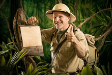Cheerful Explorer Thumbs Up Wi...