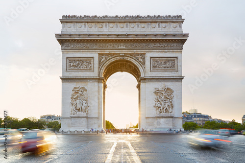 Arc de Triomphe in Paris, sunlight Canvas-taulu