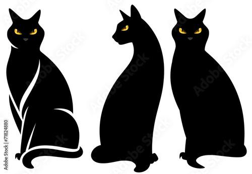 Tableau sur Toile halloween black cats set