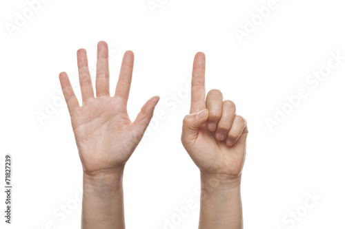 Photo  Counting Hand isolated over white background