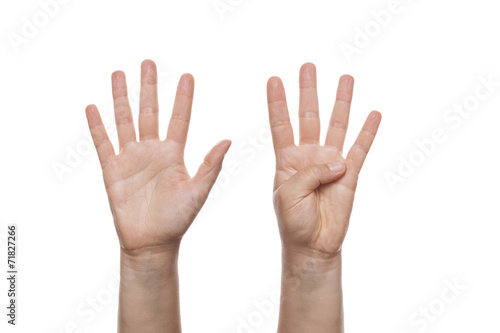 Fotografia  Counting Hand isolated over white background