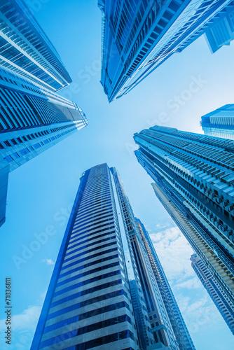 High skyscrapers of Dubai blue-toned