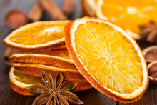 Slices Of Dried Orange, Cinnamon And Star Anise