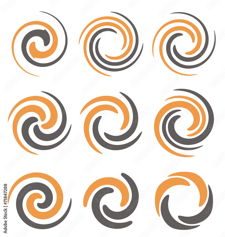 Fototapety, obrazy: Set of spiral and swirls symbols and icons