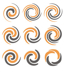 Set Of Spiral And Swirls Symbo...