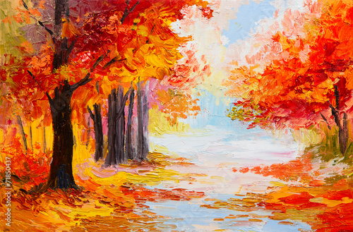 Obraz Oil painting landscape - colorful autumn forest - fototapety do salonu