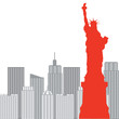 New York Statue of Liberty on the background, vector illustratio