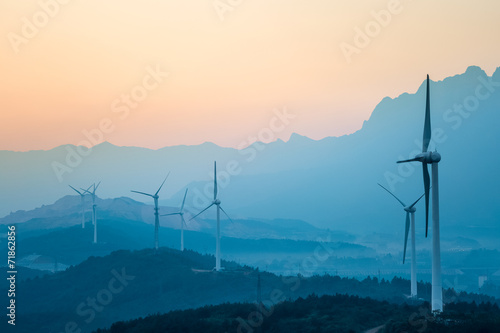 Fotografie, Obraz  wind farm in twilight