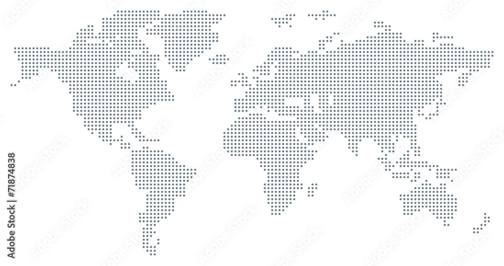 Fototapety, obrazy: Dotted World Map - grey
