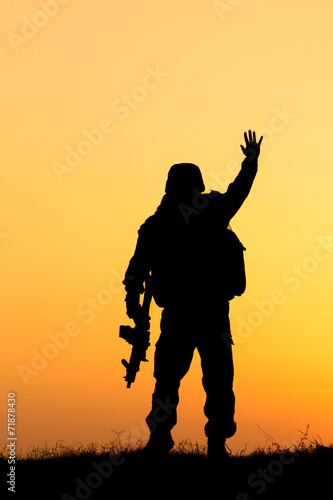 Canvas Prints Military Soldier silhouette