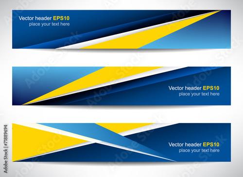 Fototapeta Web header, set of vector banner, design with precise dimension obraz