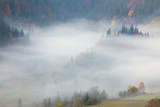 View of Misty Fog  in the Mountains - Beautiful Autumn Forest - 71897465