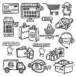 E-commerce icons set sketch
