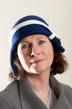 Brunette In Blue And White Cloche Hat