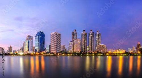 bangkok twilight cityscape Canvas Print