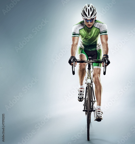 Isolated athletic cyclist. Sport Poster
