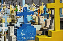 Tombstones And Crosses In Ceme...
