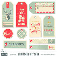 Set Of Ready-to-use Christmas Gift Tags