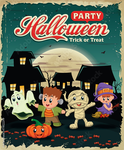 Vintage Halloween poster design with kids in costume