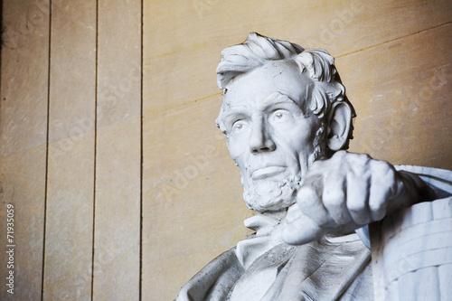 Foto  Close up Abraham Lincoln statue, Lincoln memorial, Washington.