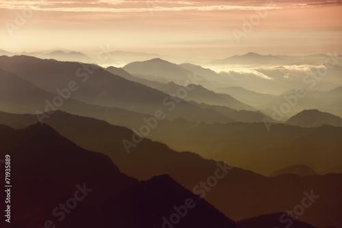 Tuinposter Purper A view of a morning sunrise over Kathmandu, Nepal.