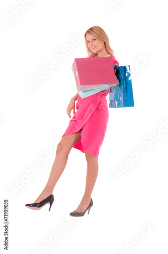 Foto op Plexiglas Fitness young pretty woman posing with shopping bags