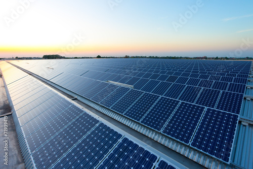 Power plant using renewable solar energy with sun Fototapet