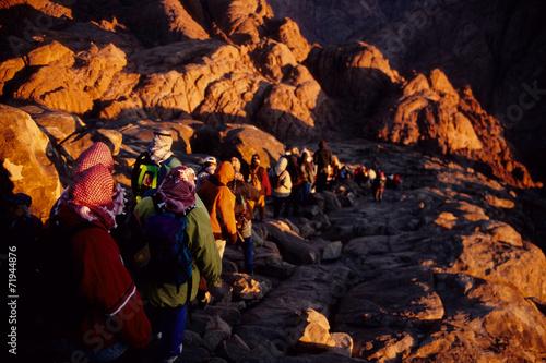 turisti pellegrini in cammino monte sacro sinai egitto Poster