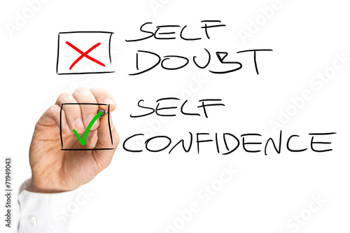Fotografie, Obraz  Self Doubt and Confidence Check Box List