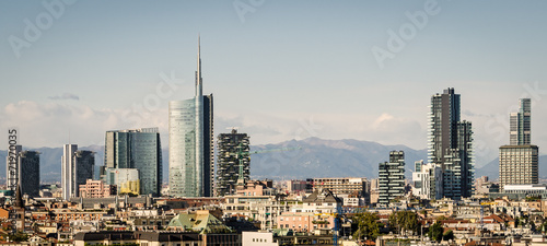 Tuinposter Milan Milano (Italy), skyline with new skyscrapers