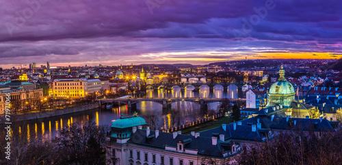 Poster Prune Bridges in Prague over the river at sunset