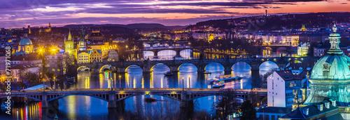 Poster Prague Bridges in Prague over the river at sunset