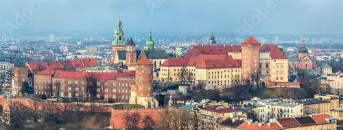 Cracow skyline with aerial view of historic royal Wawel Castle a #71971297