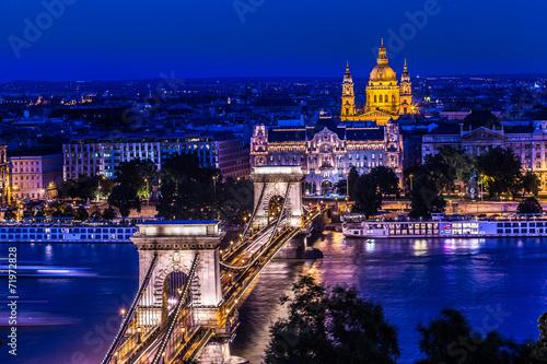obraz PCV Panorama Budapesztu, na Węgrzech, z Chain Bridge i Par